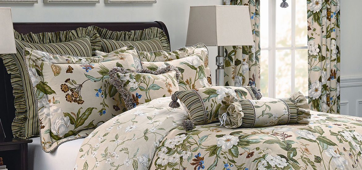 Picture of Magnolia Garden Images Bedding in a bedroom scene