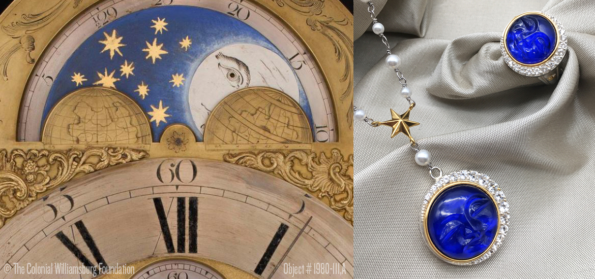 Picture of a clock movement showing a moon phase illustration and moon face jewelry inspired by the clock face.