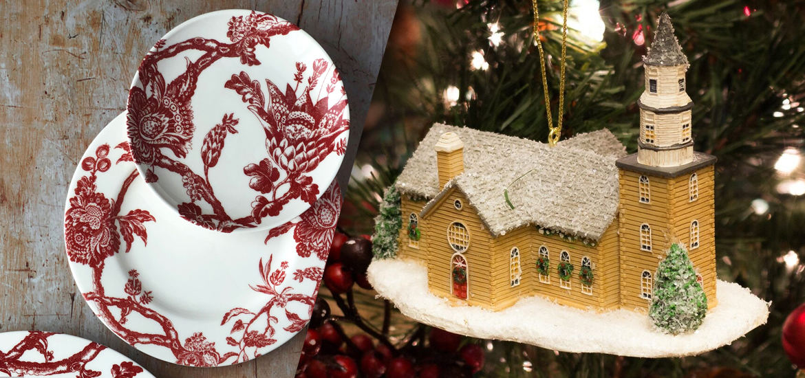 Picture of Arcadia Crimson dinnerware and Bruton Parish ornament.