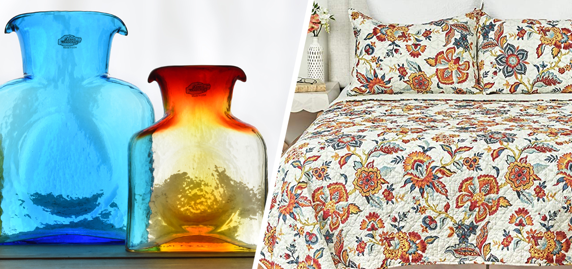 Picture of Blenko glass water bottles and Kennedy bedding