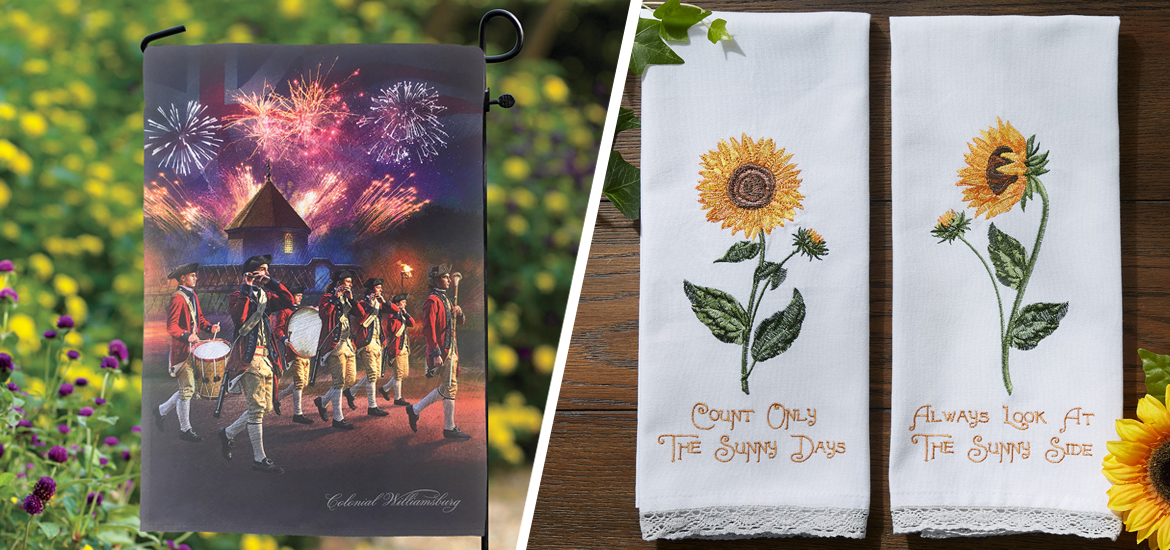 Picture of garden flag and dishtowels with sunflowers