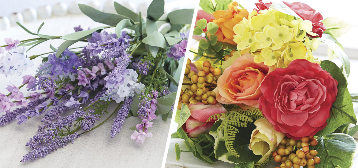 Picture of lavender and rose artificial flower bouquets