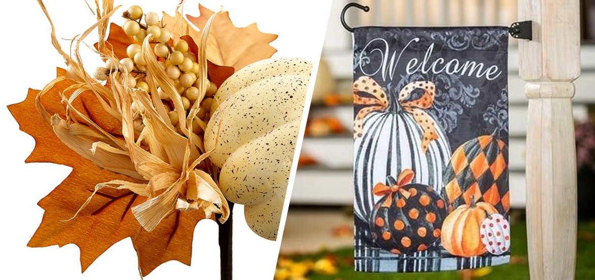 Picture of fall florals and garden flag