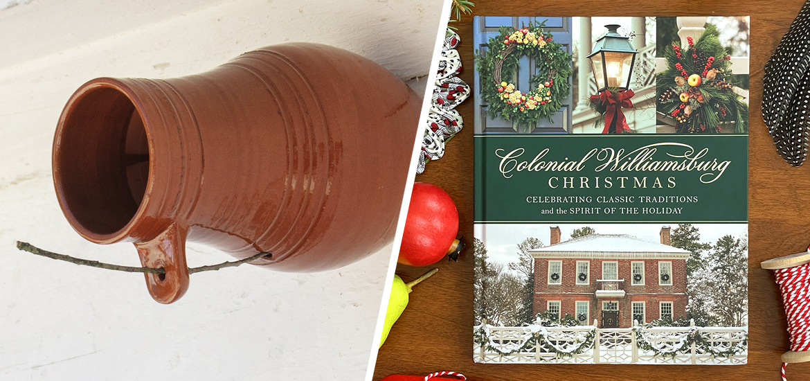 Picture of bird bottle and new Colonial Williamsburg Christmas book.