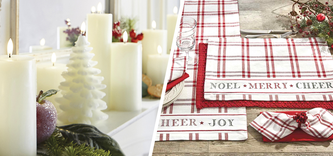 Picture of Uyuni flameless candles and Yuletide Cheer table linens