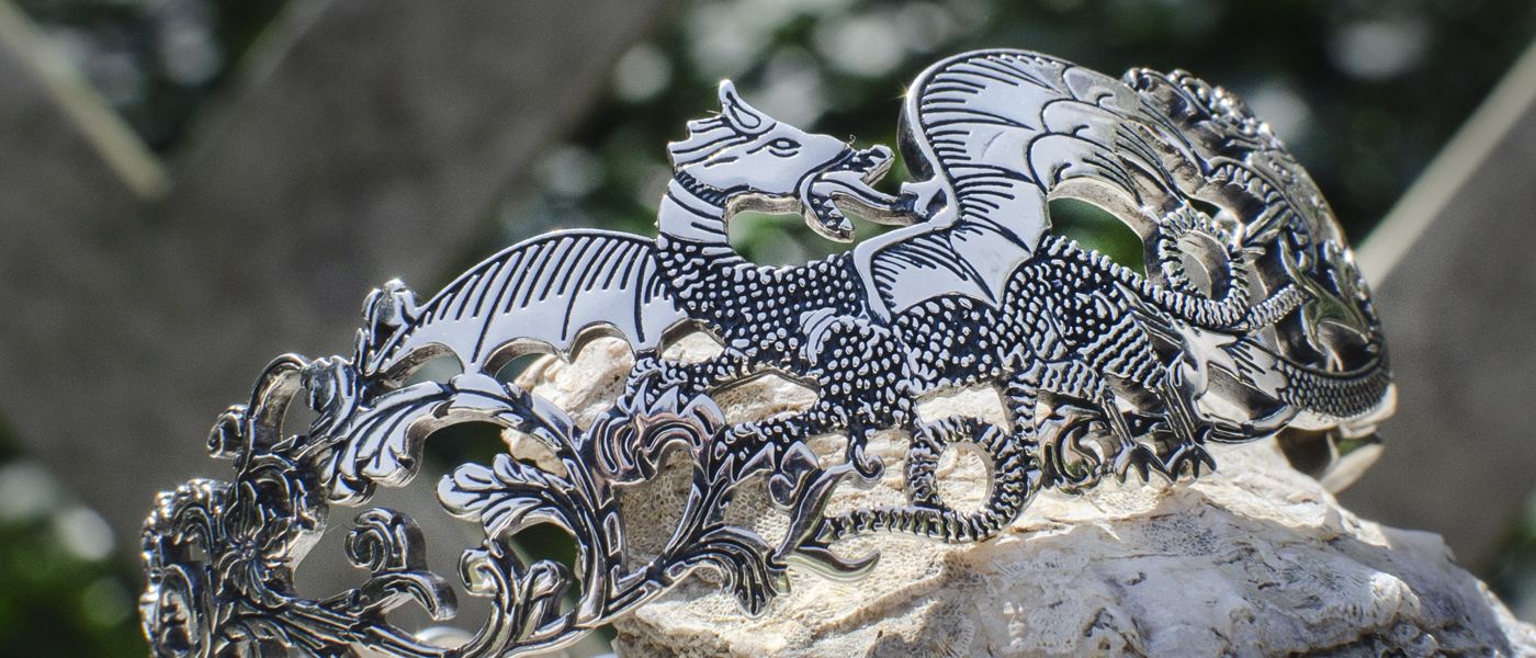 Black Dragon Hinged Cuff Bracelet