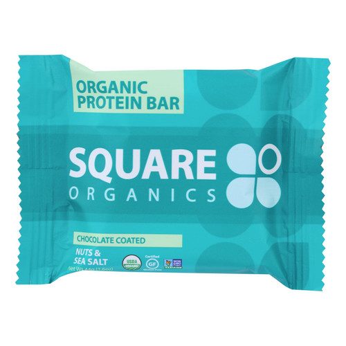 Square Organics Organic Protein Bar - Chocolate Coated Nuts and Sea Salt - Case of 12 - 1.6 oz