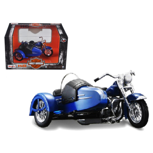 1952 Harley Davidson Fl Hydra Glide With Side Car Blue With Black Motorcycle Model 1/18 Diecast Model By Maisto 32420A/03175