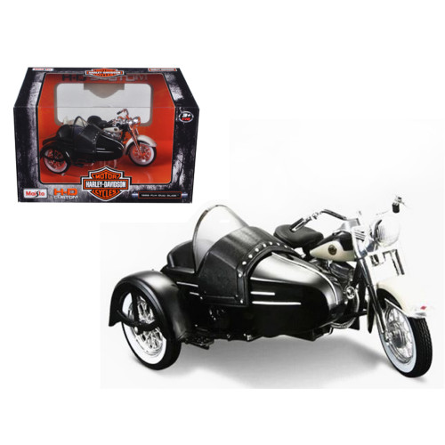 1958 Harley Davidson Flh Duo Glide With Side Car Black With White 1/18 Diecast Motorcycle Model By Maisto 32420B-03176