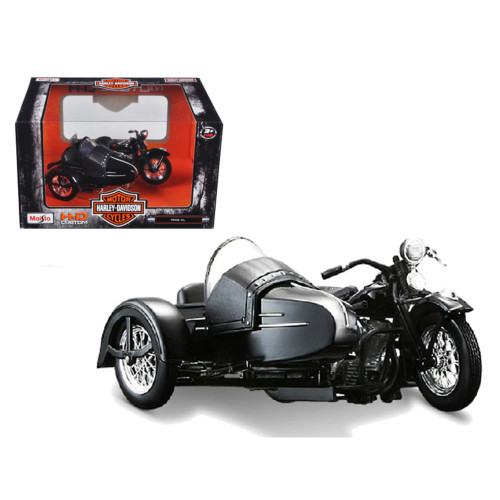 1948 Harley Davidson Fl With Side Car Black 1/18 Diecast Motorcycle Model By Maisto 32420C-03174