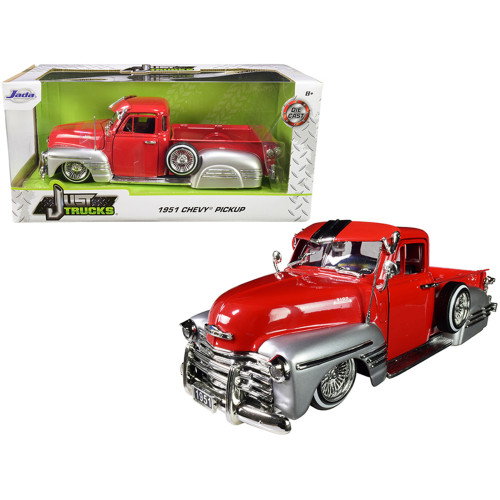 1951 Chevrolet Lowrider Pickup Truck Red and Silver Just Trucks 1/24 Diecast Model Car by Jada 97229