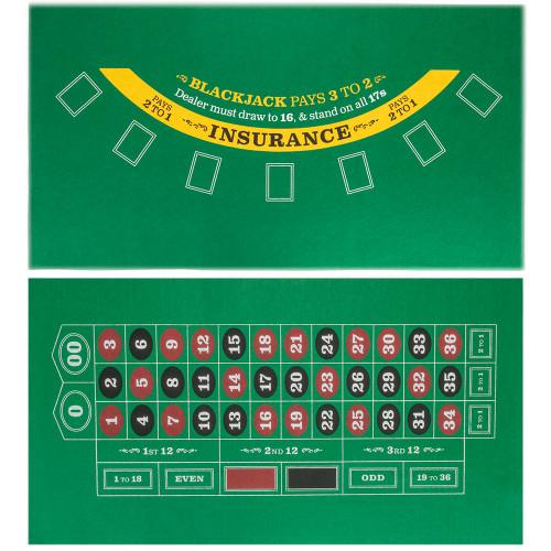 Double-sided Mini Table Felt, Blackjack and Roulette