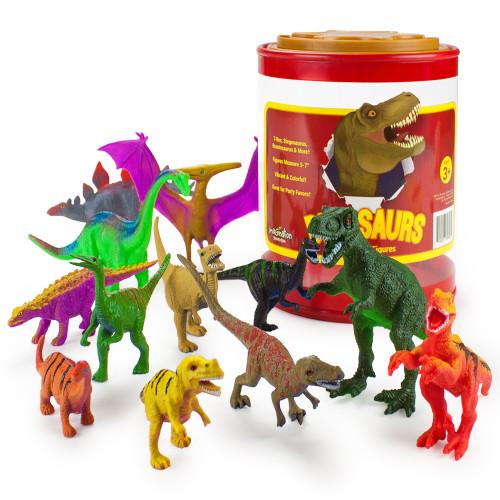 "Set of 12 Large 7"" Dinosaur Toys with Storage Drum"