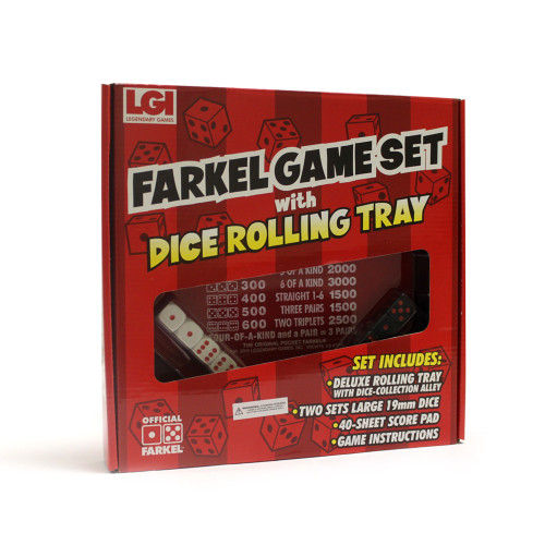 Farkel Game Set with Dice Rolling Tray