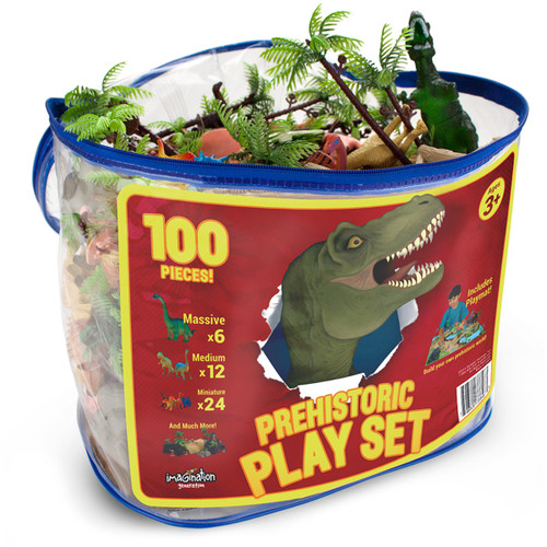100 Pc Prehistoric Playset w Play Mat and Storage Container