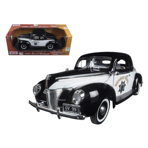 1940 Ford Coupe Deluxe California Highway Patrol CHP Timeless Classics 1/18 Diecast Model Car by Motormax 73108POL-TC