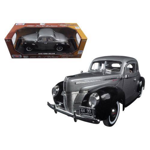 1940 Ford Deluxe Grey with Black Timeless Classics 1/18 Diecast Model Car by Motormax 73108TC-GRY-BK