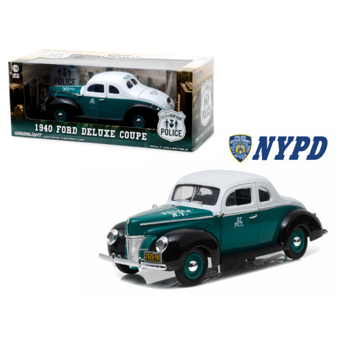 1940 Ford Deluxe Coupe New York City Police Department (NYPD) 1/18 Diecast Model Car by Greenlight 12972