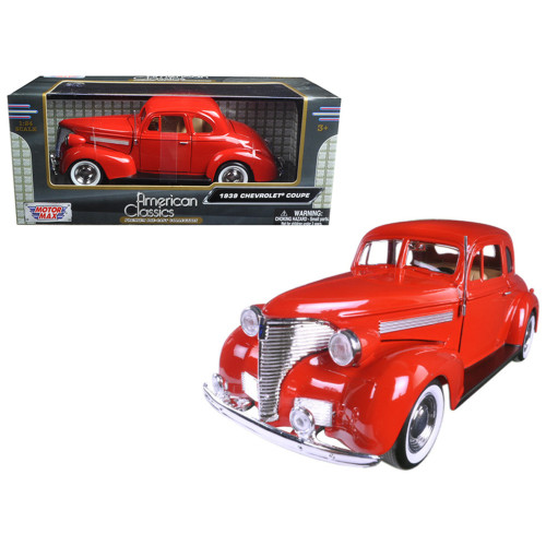 1939 Chevrolet Coupe Red 1/24 Diecast Model Car by Motormax 73247R