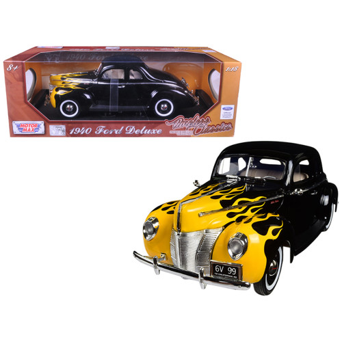 1940 Ford Deluxe Black with Yellow Flames Timeless Classics 1/18 Diecast Model Car by Motormax 73108TC-BLK-FLM