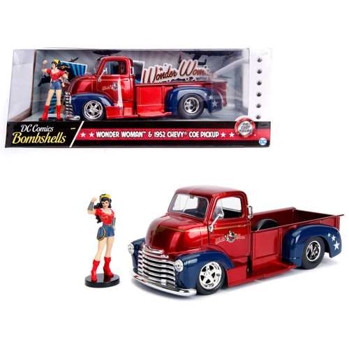 1952 Chevrolet COE Pickup Truck Red and Blue with Wonder Woman Diecast Figure DC Comics Bombshells Series 1/24 Diecast Model Car by Jada 30453