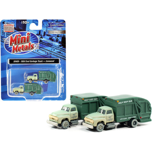 1957 Chevrolet Garbage Truck Ironwood Sanitation Light Green and Dark Green (Dirty) Set of 2 pieces 1/160 (N) Scale Models by Classic Metal Works 50409