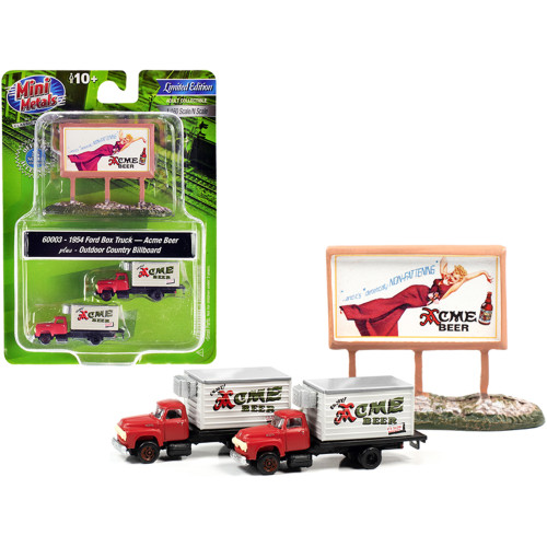 1954 Ford Box Truck 2 pieces Red and White with Country Billboard Acme Beer 1/160 (N) Scale Models by Classic Metal Works 60003