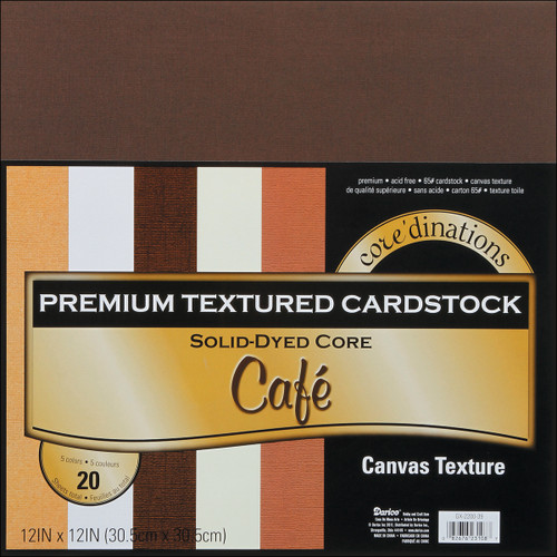Canvas Cardstock 12 X12 Inches Cafe Assortment