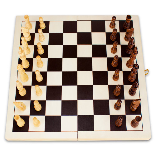 14in Natural Wooden Folding Chess Game with Staunton Pieces