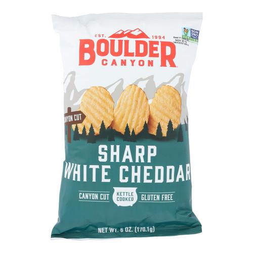 Boulder Canyon Natural Foods - Kettle Chips Wht Cheddar - Case of 12 - 6 OZ