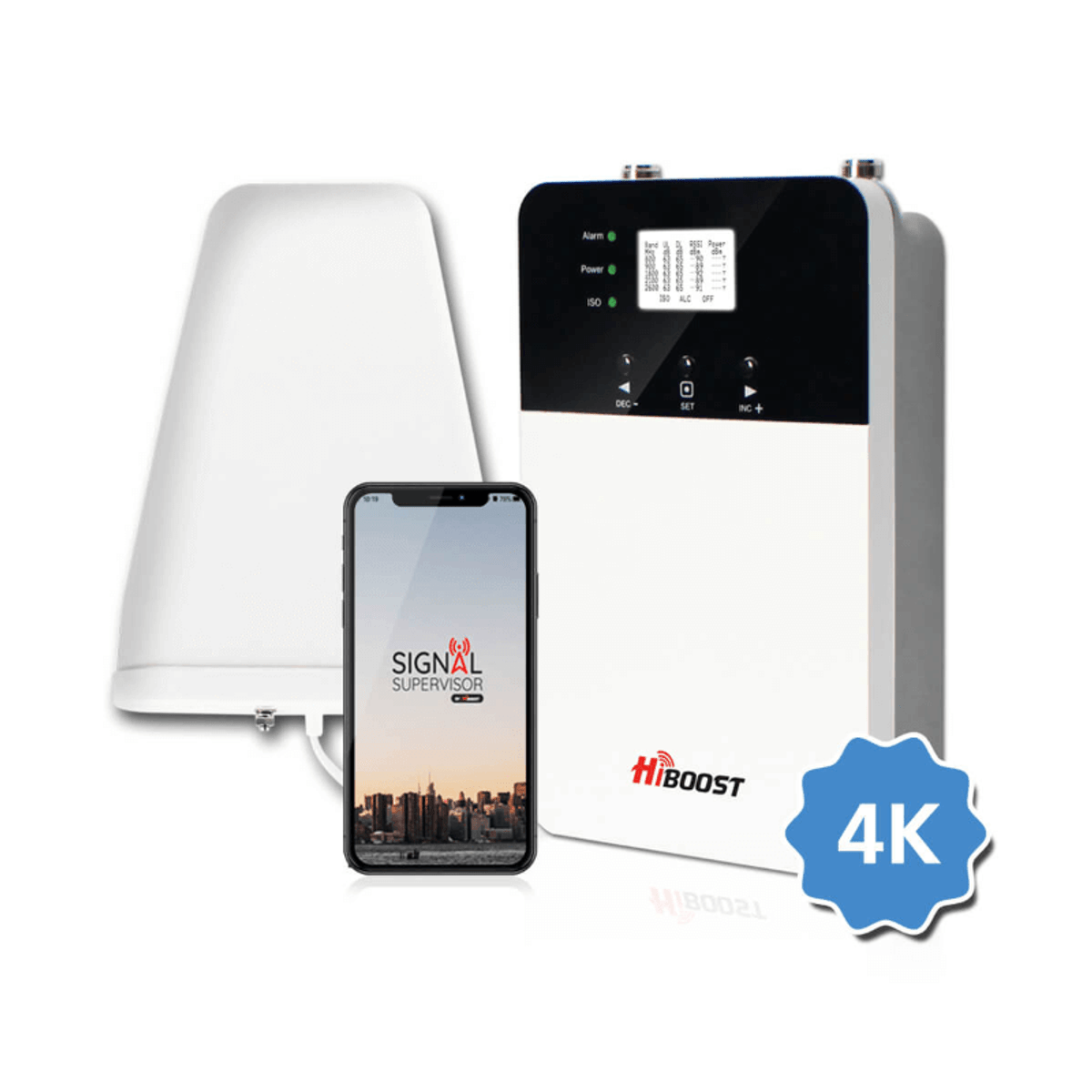 HiBoost Home 4K Plus  All-In-One Signal Booster Kit  With Yagi Panel Outdoor Antenna