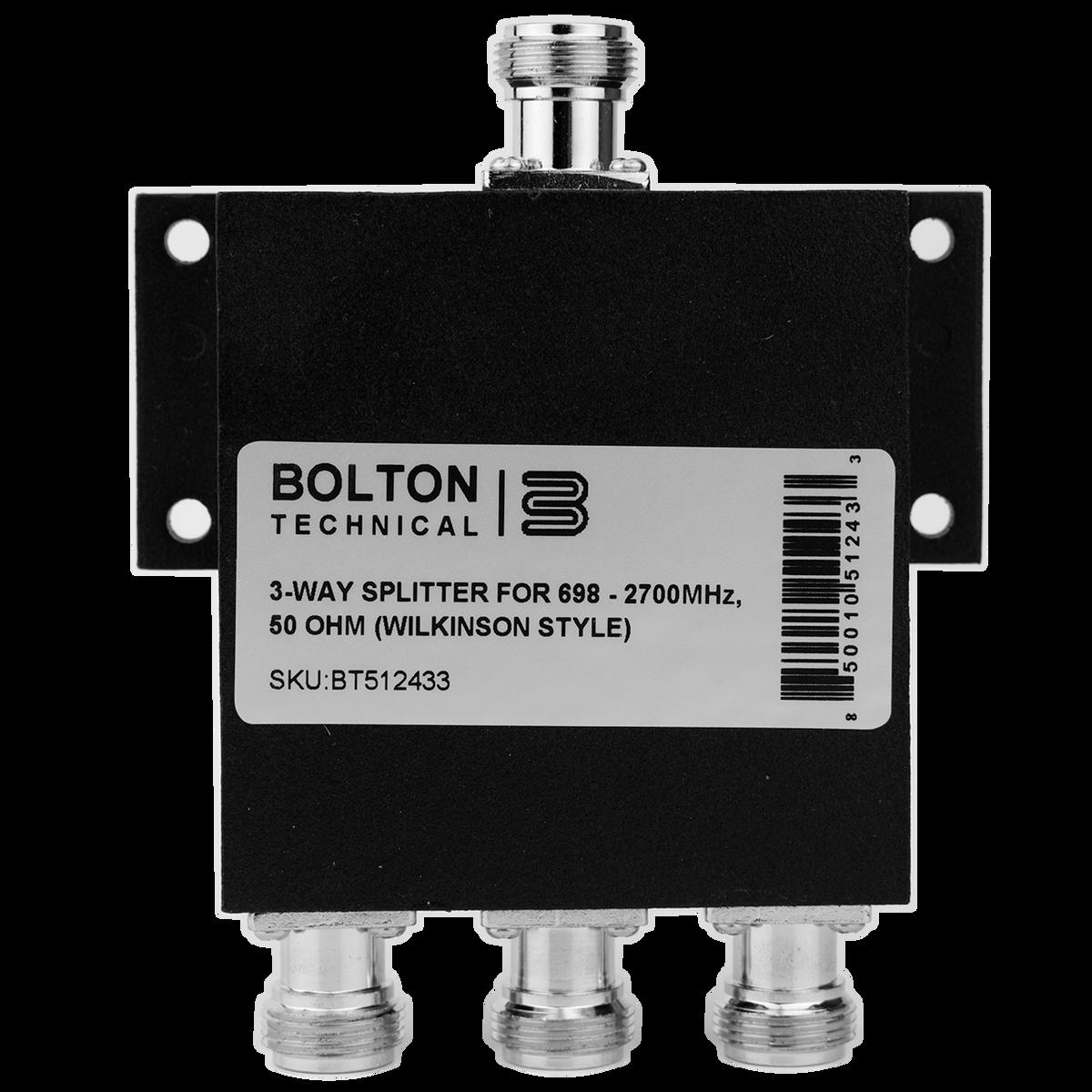 Bolton Technical Low-PIM 3-Way Splitter 698-2700Mhz 50 Ohm (Wilkinson Style)