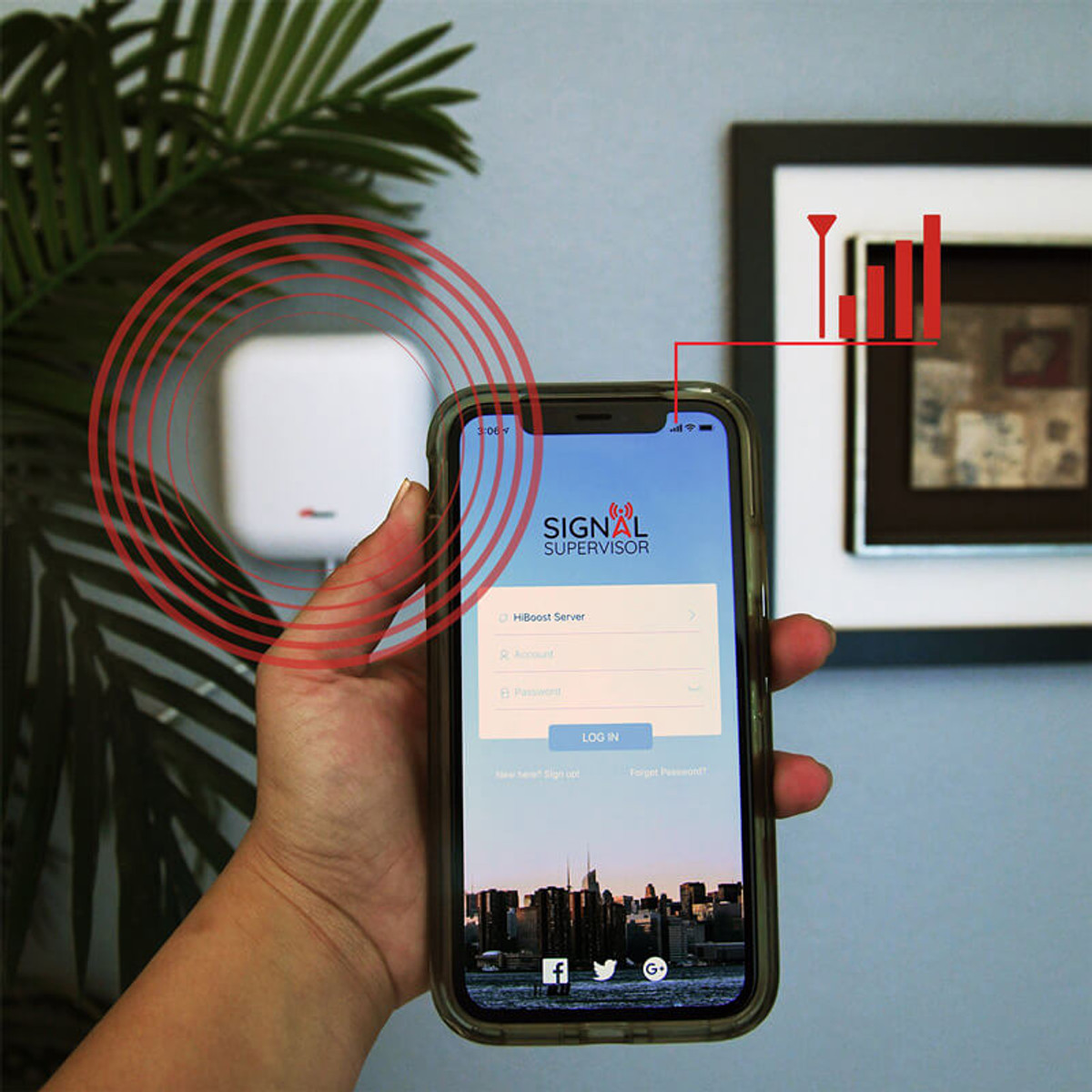 HiBoost Signal Booster App: Signal Supervisor Manages Home Settings