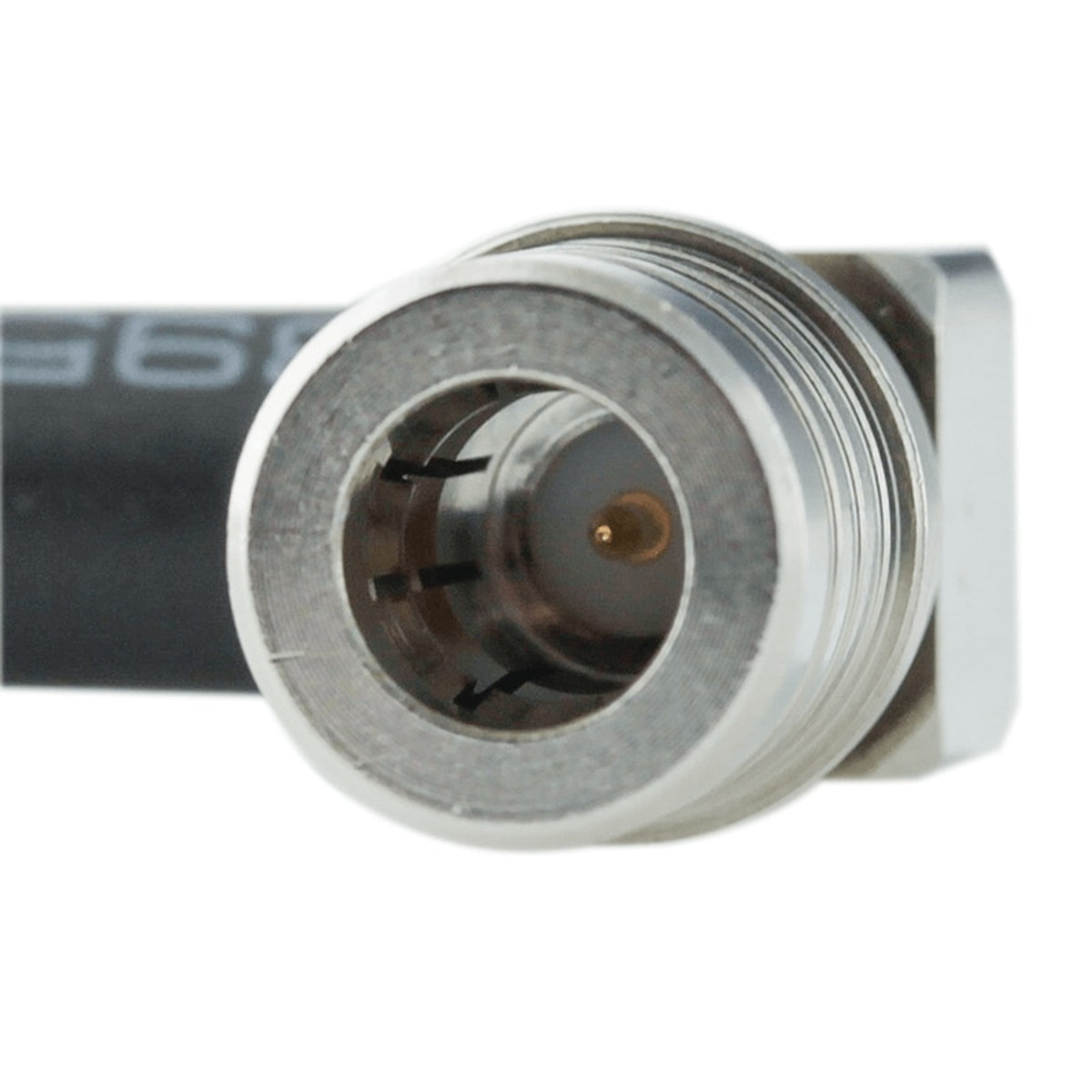 Bolton Technical 2 meter N-Male Bulkhead to QMA-Male Angle Coax RF Pigtail Cable