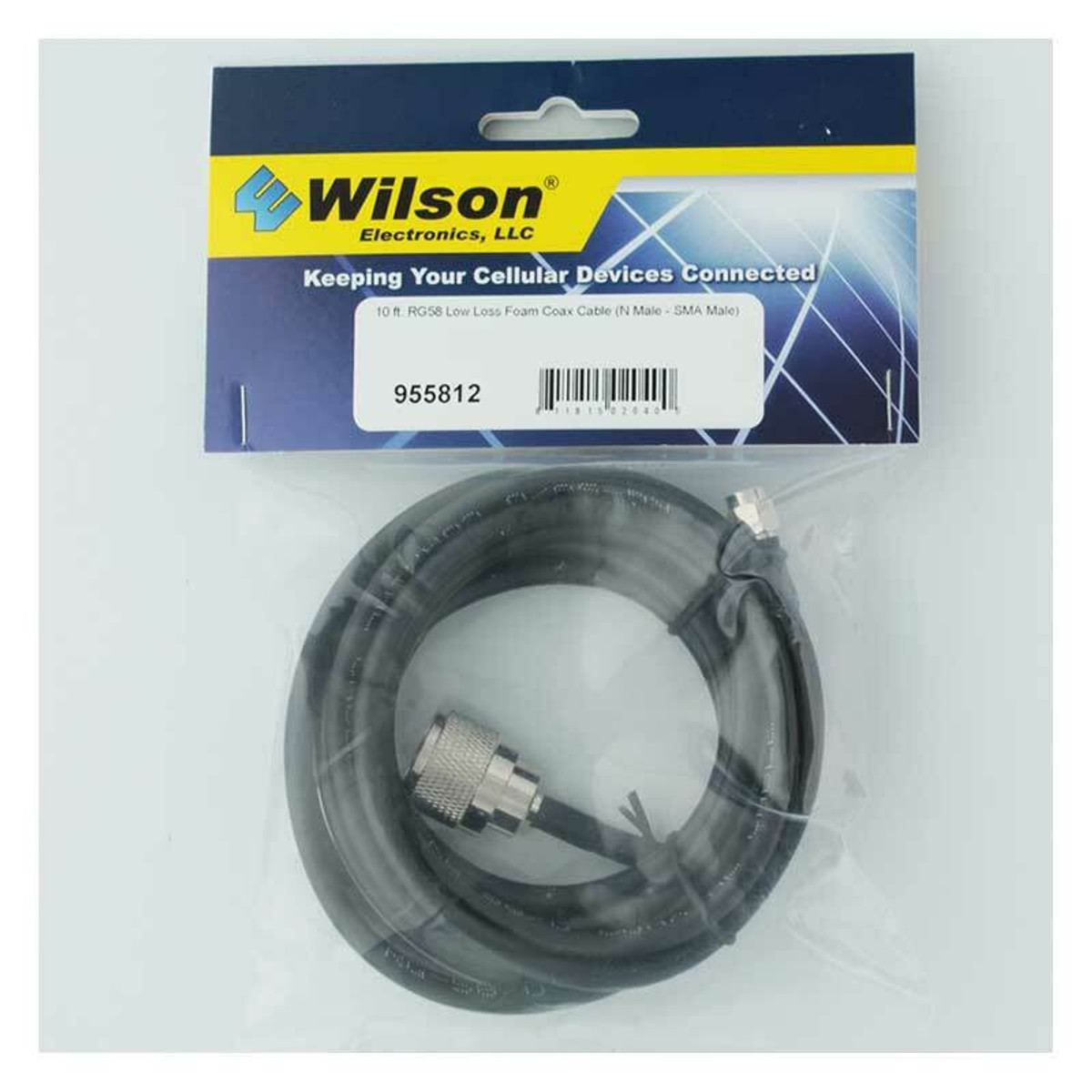 weBoost (Wilson) 955812 RG58 Extension N-Male to SMA-Male | 10f t Black Cable