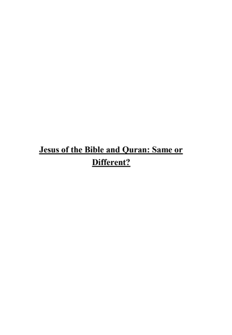 Jesus of the Bible and Quran: Same or  Different? (E-Book)