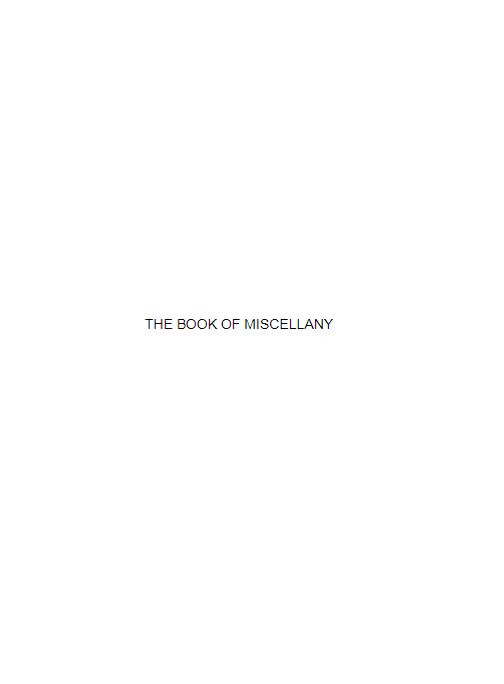 The Book of Miscellany (E-Book)