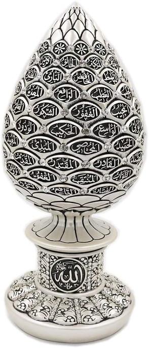Islamic Table Decor Silver Teardrop Sculpture Figure Arabic 99 Names of Allah ESMA Asma al Husna