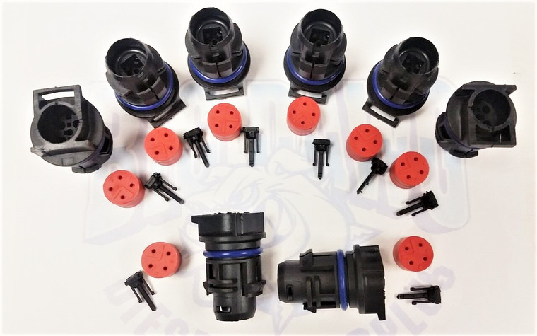 2003-2007 FORD 6.0L POWERSTROKE INJECTOR CONNECTOR PLUGS (BLACK) SET OF 8 - WITH FREE SHIPPING!