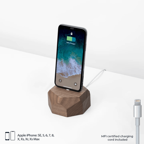 iPhone Wood Geometric Dock Walnut