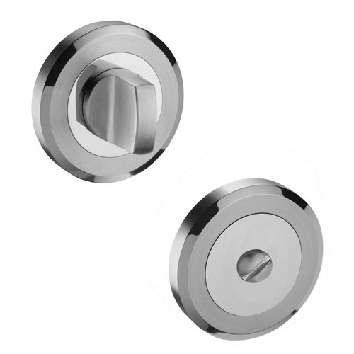 Access Hardware Duo Polished/Stainless Steel Bathroom Turn and Release No Indicator