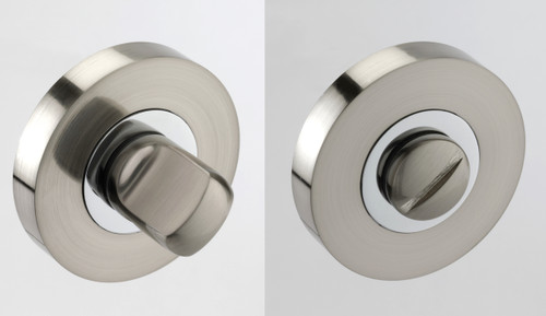 Access Hardware Polished/Satin Chrome Bathroom Turn and Release with No Indicator