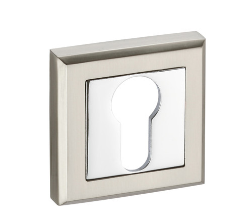 Access Hardware Polished/Satin Chrome Square Euro Profile Cylinder Escutcheon