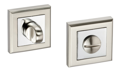 Access Hardware Polished/Satin Chrome Square Bathroom Turn and Release with No Indicator