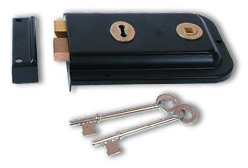 UNION 1445 3 Lever Rim Lock Black,Champagne Gold or Polished Laquered Brass