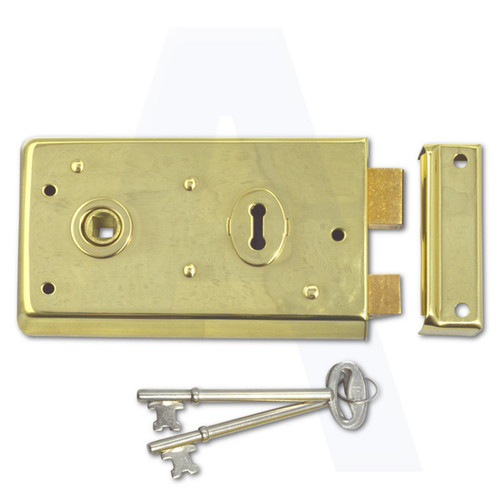 ASEC 1 Lever Double Handed Rimlock - 140mm Brass