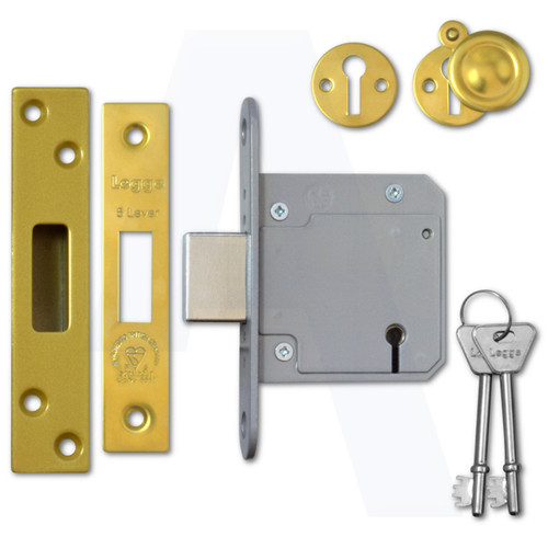 Legge BS3621:2007 5 Lever Deadlocks Polished Brass