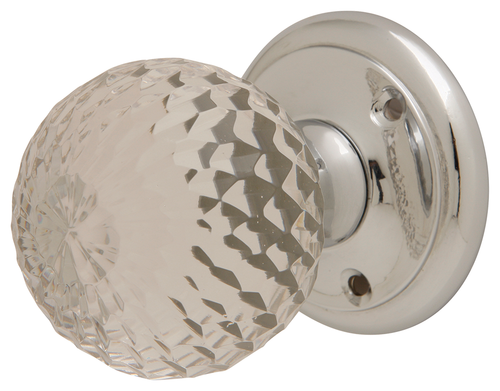 Faceted Glass Mortice Knobs Polished Chrome