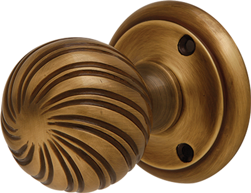 Brass Swirl Mortice Knobs Bronze Finish