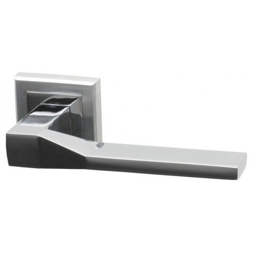 Canterbury Lever on Square Rose Dual Finish Polished Chrome/Satin Chrome